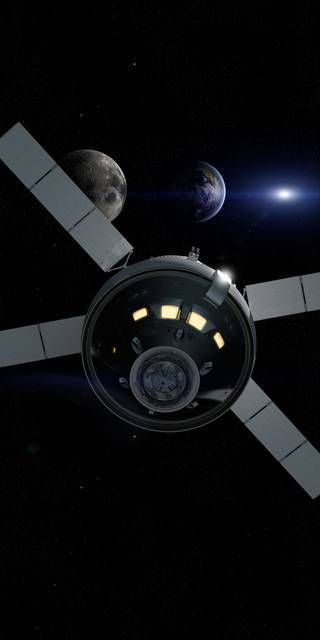 Artist rendering of Orion during Exploration Mission-1